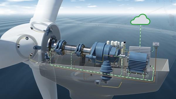 W system monitorowania warunków jest wbudowane siedem czujników przyspieszenia przy napędzie wiatrowni.
