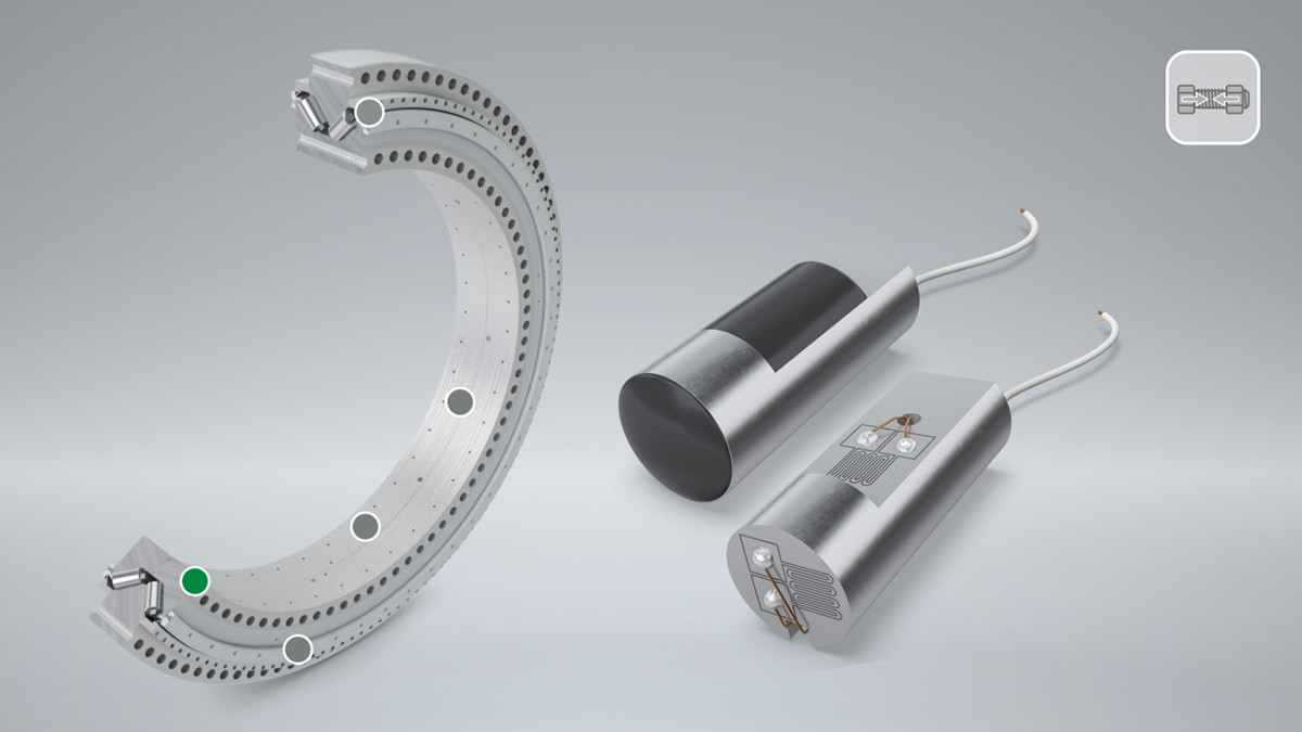 In flanged bearings, the preload of the screws has a direct influence on the bearing's performance capacity and operating life. The LoadSense Pin monitors the screw preload during operation and warns the user as soon as a threshold value is undershot.